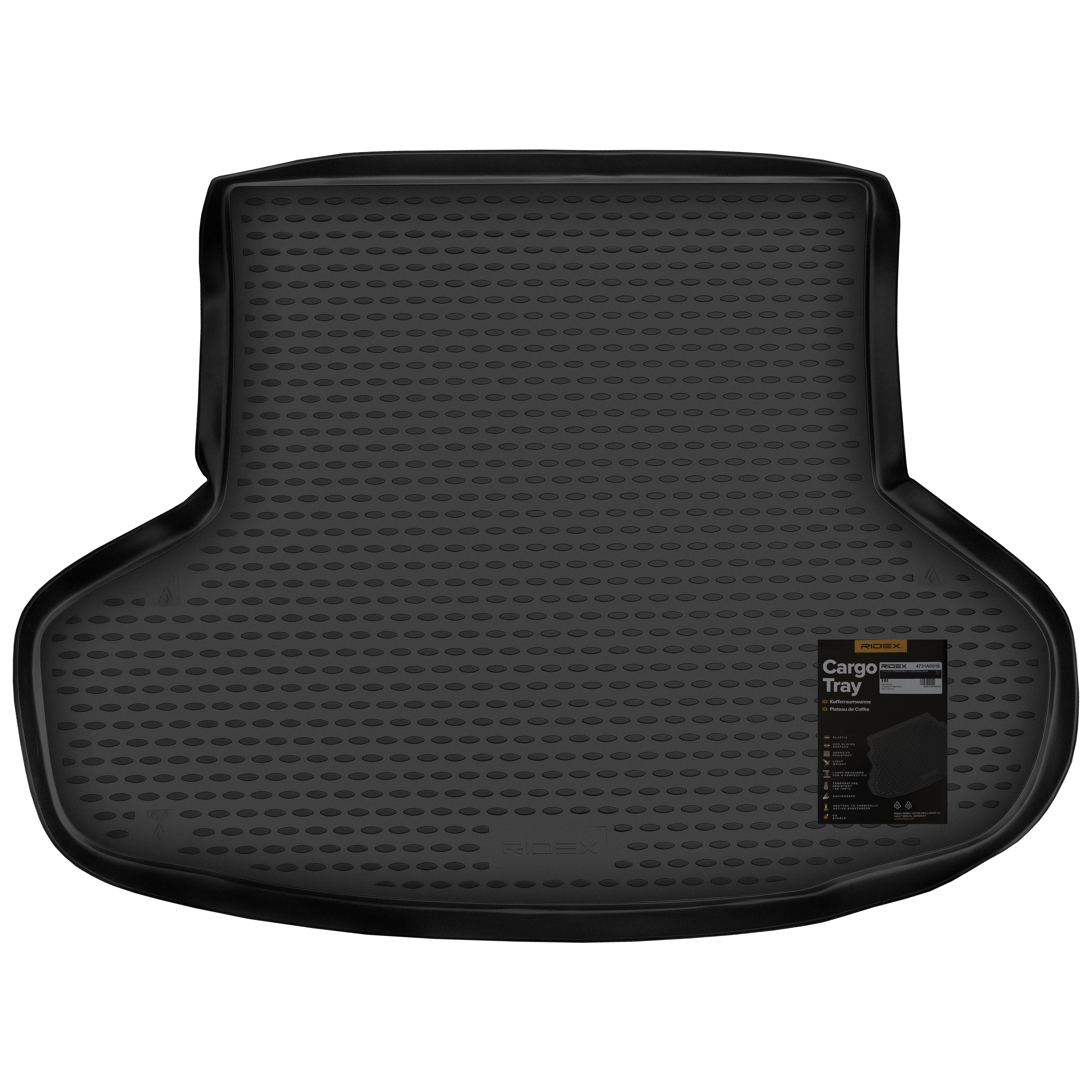 4731A0016 Bagagerumsmåtter Bagagerum, sort, Gummi fra RIDEX til lave priser - køb nu!