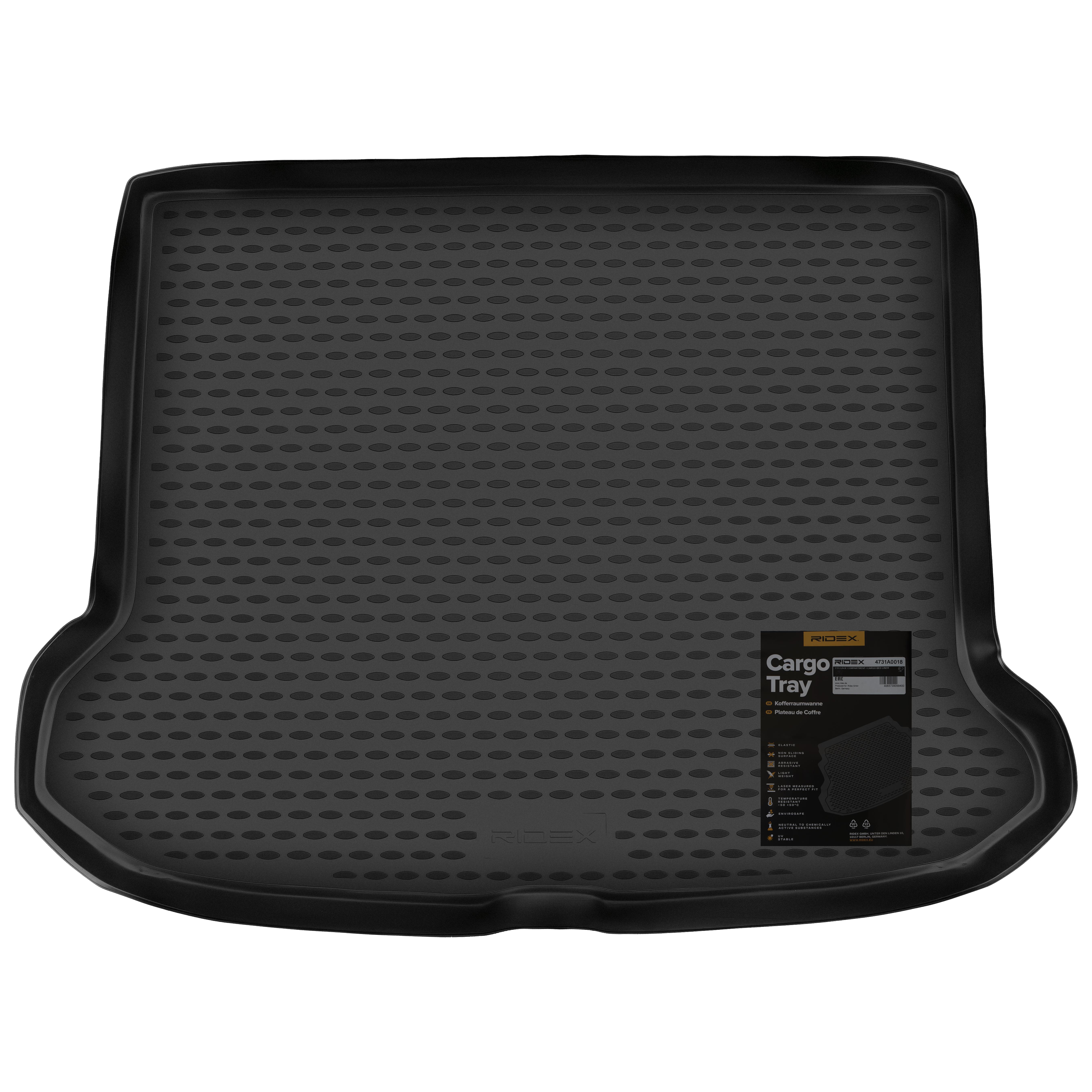 4731A0018 Alfombras para maletero Maletero, negro, Caucho de RIDEX a precios bajos - ¡compre ahora!