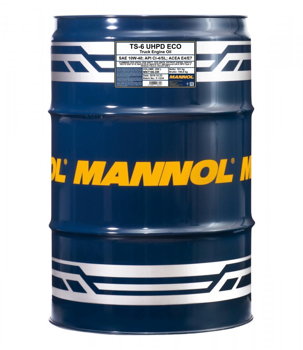 MN7106-DR MANNOL TS-6, UHPD Eco 10W-40, 10W-40, 208l Motoröl MN7106-DR günstig kaufen