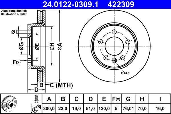 Achetez Disques de frein ATE 24.0122-0309.1 (Ø: 300,0mm, Nbre de trous: 5, Épaisseur du disque de frein: 22,0mm) à un rapport qualité-prix exceptionnel
