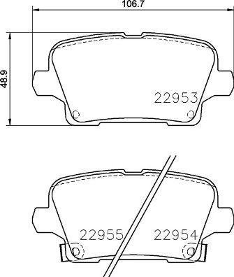 BREMBO: Original Bremsklötze P 59 097 (Höhe: 49mm, Breite: 106,4mm, Dicke/Stärke: 17mm)