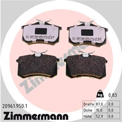 Bremsklötze ZIMMERMANN 20961.950.1
