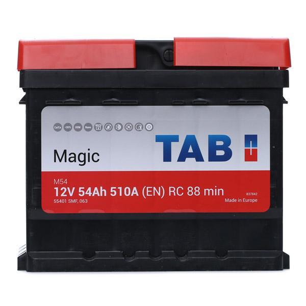 55401 TAB Magic 12V 54Ah 510A B13 Bleiakkumulator Kälteprüfstrom EN: 510A, Spannung: 12V, Polanordnung: 00 Starterbatterie 189054 günstig kaufen