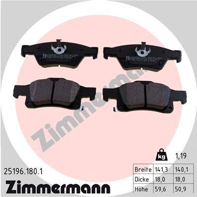 25198 ZIMMERMANN mit akustischer Verschleißwarnung Höhe 1: 52mm, Höhe 2: 60mm, Breite 1: 140mm, Breite 2: 142mm, Dicke/Stärke: 18mm Bremsbelagsatz, Scheibenbremse 25196.180.1 günstig kaufen