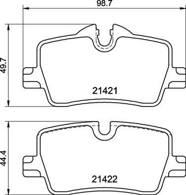 Bremsbeläge BMW 3 Touring Van (G21) hinten + vorne 2019 - BREMBO P 06 113 (Höhe 1: 44,5mm, Höhe 2: 49,8mm, Breite: 98,6mm, Dicke/Stärke: 16,6mm)