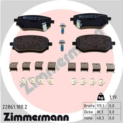 MERCEDES-BENZ X-Klasse 2021 Tuning - Original ZIMMERMANN 22861.180.2 Höhe: 48mm, Breite: 113mm, Dicke/Stärke: 18mm