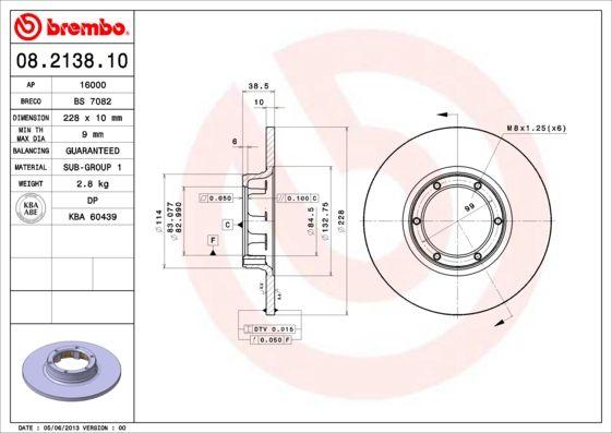 Achetez Tuning BREMBO 08.2138.10 (Ø: 228mm, Nbre de trous: 6, Épaisseur du disque de frein: 10mm) à un rapport qualité-prix exceptionnel