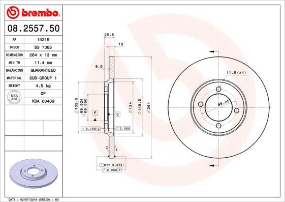 JAGUAR XJS 1990 Tuning - Original BREMBO 08.2557.50 Ø: 264mm, Lochanzahl: 4, Bremsscheibendicke: 13mm