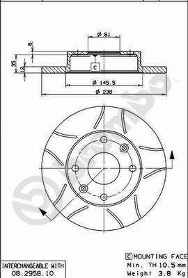 08.2958.75 BREMBO MAX LINE Geschlitzt, Voll, beschichtet, mit Schrauben Ø: 238mm, Lochanzahl: 4, Bremsscheibendicke: 12mm Bremsscheibe 08.2958.75 günstig kaufen