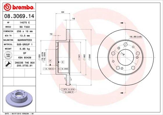 BREMBO: Original Scheibenbremsen 08.3069.14 (Ø: 256mm, Lochanzahl: 5, Bremsscheibendicke: 16mm)