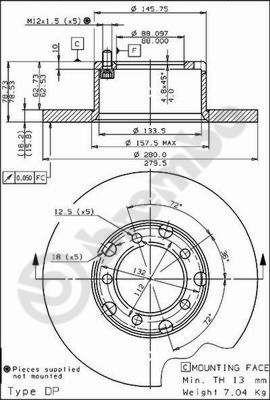 MERCEDES-BENZ T1 1995 Tuning - Original BREMBO 08.3959.20 Ø: 280mm, Lochanzahl: 5, Bremsscheibendicke: 16mm