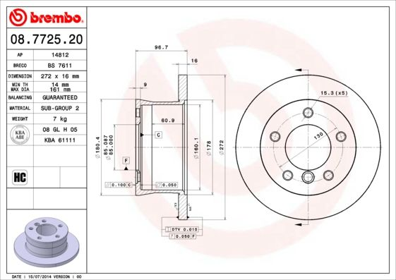 Achetez Disque BREMBO 08.7725.20 (Ø: 272mm, Nbre de trous: 5, Épaisseur du disque de frein: 16mm) à un rapport qualité-prix exceptionnel