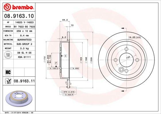 08.9163.10 BREMBO Voll, hochgekohlt Ø: 259mm, Lochanzahl: 4, Bremsscheibendicke: 10mm Bremsscheibe 08.9163.10 günstig kaufen