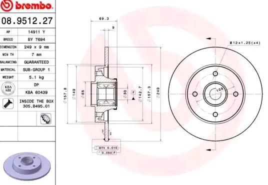 1 unidad Mapco 15342 Disco de freno