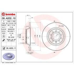 08.A202.10 Bremsscheiben BREMBO in Original Qualität