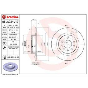 08.A224.10 BREMBO Voll, mit Schrauben Ø: 278mm, Lochanzahl: 5, Bremsscheibendicke: 12mm Bremsscheibe 08.A224.10 günstig kaufen