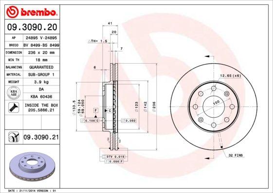 CHEVROLET SPARK 2019 Bremsscheiben - Original BREMBO 09.3090.20 Ø: 236mm, Lochanzahl: 4, Bremsscheibendicke: 20mm