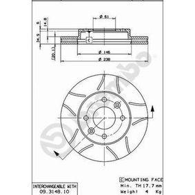 09.3148.75 Bremsscheibe BREMBO - Markenprodukte billig