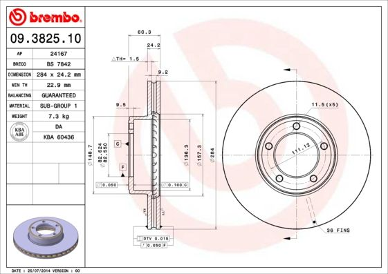 JAGUAR XJS 1995 Tuning - Original BREMBO 09.3825.10 Ø: 284mm, Lochanzahl: 5, Bremsscheibendicke: 24,2mm