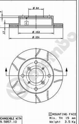09.5857.75 BREMBO MAX LINE fendido, interior ventilado, revestido Ø: 231mm, N.º de furos: 4, Espessura do disco de travão: 17mm Disco de travão 09.5857.75 comprar económica