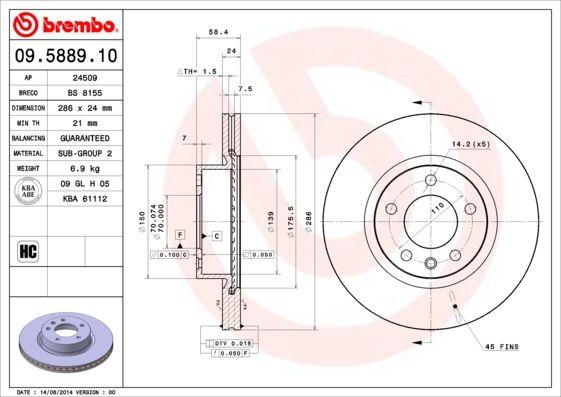 09.5889.10 BREMBO interior ventilado Ø: 286mm, N.º de furos: 5, Espessura do disco de travão: 24mm Disco de travão 09.5889.10 comprar económica