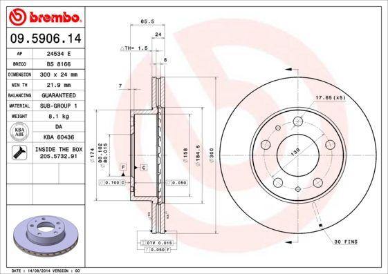 09.5906.14 BREMBO interior ventilado, com parafusos Ø: 300mm, N.º de furos: 5, Espessura do disco de travão: 24mm Disco de travão 09.5906.14 comprar económica