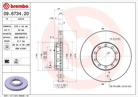 BREMBO Brake Disc 09.6734.20