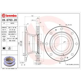 Buy BREMBO Brake Disc 09.6763.20 for IVECO at a moderate price