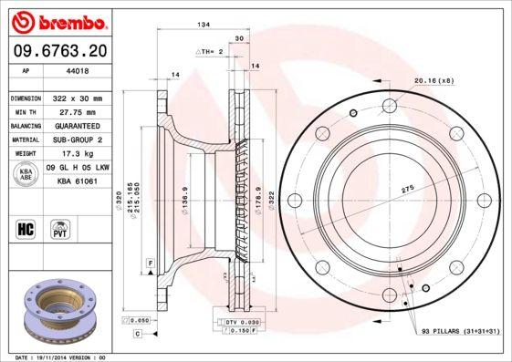 09.6763.20 BREMBO Bremsscheibe billiger online kaufen