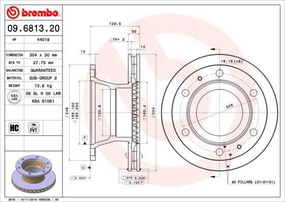 Bremsscheibe BREMBO 09.6813.20 mit 33% Rabatt kaufen