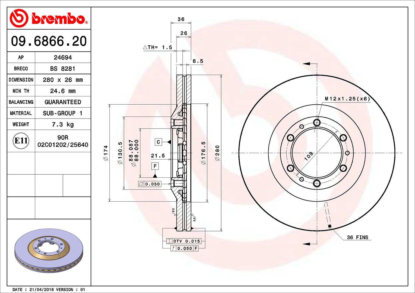 BREMBO: Original Scheibenbremsen 09.6866.20 (Ø: 280mm, Lochanzahl: 6, Bremsscheibendicke: 26mm)