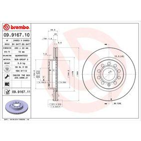 09.9167.11 Disco de freno BREMBO - Productos de marca económicos