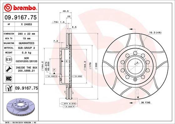 Achetez Disque BREMBO 09.9167.75 (Ø: 280mm, Nbre de trous: 5, Épaisseur du disque de frein: 22mm) à un rapport qualité-prix exceptionnel