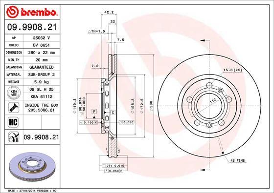Achetez Disques de frein BREMBO 09.9908.21 (Ø: 280mm, Nbre de trous: 5, Épaisseur du disque de frein: 22mm) à un rapport qualité-prix exceptionnel