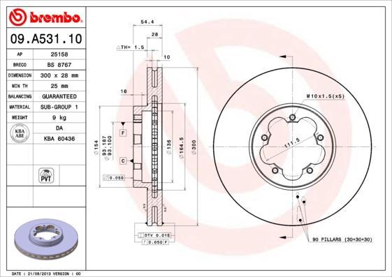 BREMBO Спирачен диск 09.A531.10
