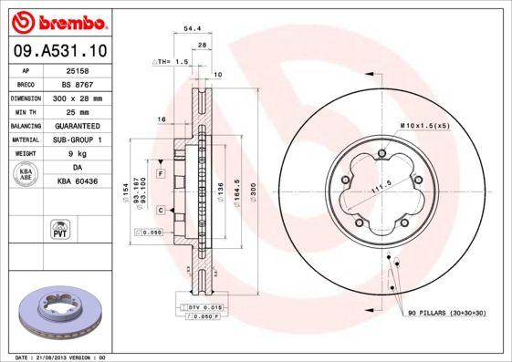 BREMBO | Спирачен диск 09.A531.10