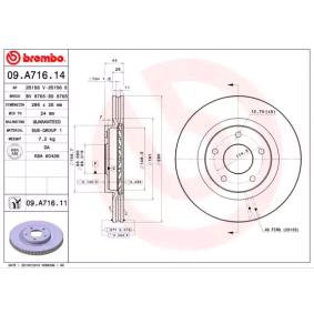 09A71614 Bremsscheibe BREMBO 09.A716.14 - Große Auswahl - stark reduziert