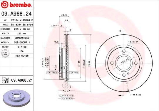 09A96824 Спирачен диск BREMBO 09.A968.24 - Голям избор — голямо намалание