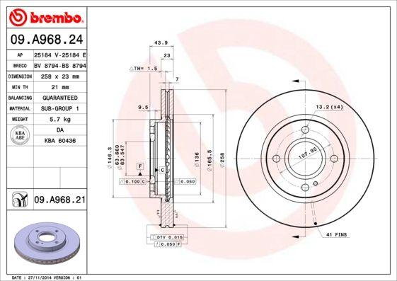 09.A968.24 Спирачен диск BREMBO в оригиналното качество