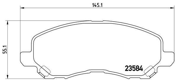 CHRYSLER SEBRING 2003 Bremsbelagsatz - Original BREMBO P 11 026 Höhe: 55,1mm, Breite: 145,1mm, Dicke/Stärke: 16mm