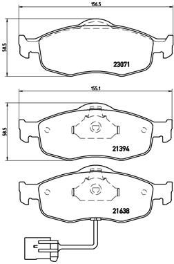 Bremsbelagsatz Ford Mondeo BFP hinten + vorne 1998 - BREMBO P 24 034 (Höhe: 59mm, Breite 1: 155mm, Breite 2: 157mm, Dicke/Stärke: 19mm)