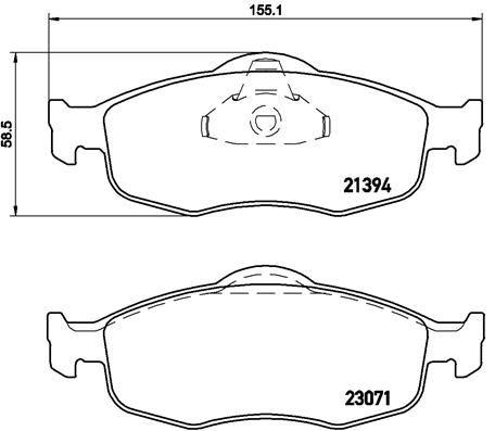 Bremssteine Ford Mondeo BFP hinten + vorne 1997 - BREMBO P 24 037 (Höhe: 59mm, Breite 1: 155mm, Breite 2: 156mm, Dicke/Stärke: 19mm)