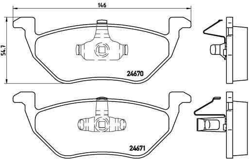 FORD USA ESCAPE 2007 Bremsbeläge - Original BREMBO P 24 085 Höhe: 54,7mm, Breite: 146mm, Dicke/Stärke: 17,1mm