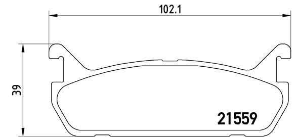 MAZDA MX-5 2015 Bremsklötze - Original BREMBO P 49 015 Höhe: 39mm, Breite: 102mm, Dicke/Stärke: 13mm