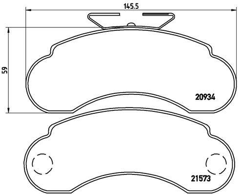 MERCEDES-BENZ MB 100 2003 Scheibenbremsbeläge - Original BREMBO P 50 021 Höhe: 59mm, Breite: 145,5mm, Dicke/Stärke: 14mm
