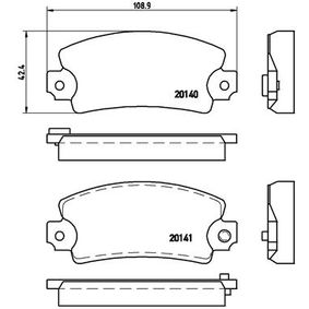 7078D192 BREMBO für Verschleißwarnanzeiger vorbereitet Höhe: 42,4mm, Breite: 108,9mm, Dicke/Stärke: 14mm Bremsbelagsatz, Scheibenbremse P 68 004 günstig kaufen