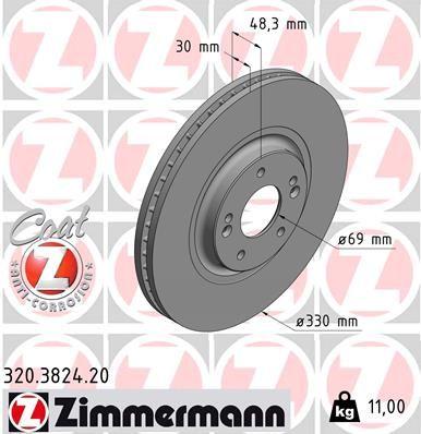 320.3824.20 ZIMMERMANN Innenbelüftet, beschichtet Ø: 330mm, Felge: 5-loch, Bremsscheibendicke: 30mm Bremsscheibe 320.3824.20 günstig kaufen