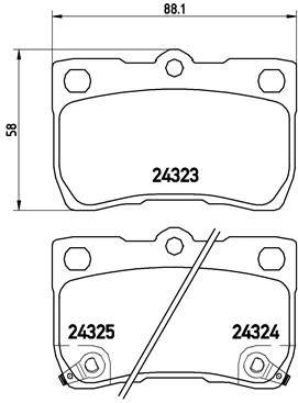 BREMBO: Original Bremsbelagsatz P 83 073 (Höhe: 58mm, Breite: 88,1mm, Dicke/Stärke: 15,5mm)