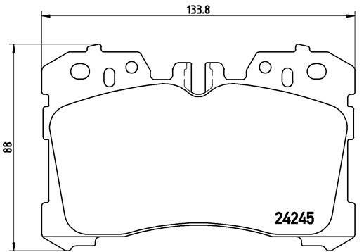 LEXUS LS 2017 Bremsbelagsatz Scheibenbremse - Original BREMBO P 83 075 Höhe: 88mm, Breite: 133,8mm, Dicke/Stärke: 18,5mm