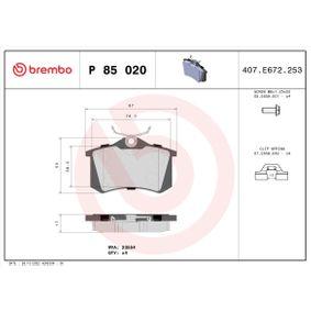 P85020 Bromsbeläggssats, skivbroms BREMBO - Upplev rabatterade priser